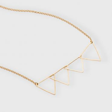 Necklace Signal 4 Triangles in silver-gilt