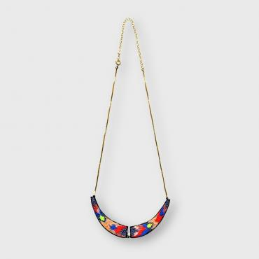 Collier brodé main plastron Multicolore