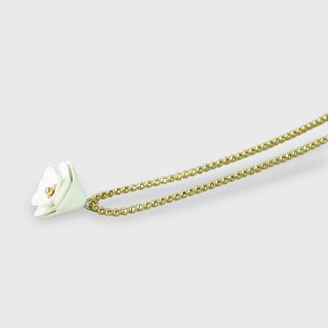 Necklace Camélia white and gold