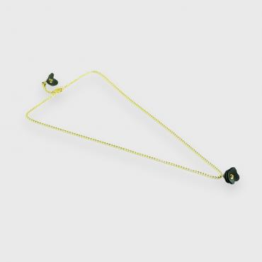 Necklace Camélia black and gold