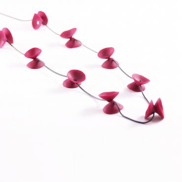 Necklace Coquelicots raspberry pink and black