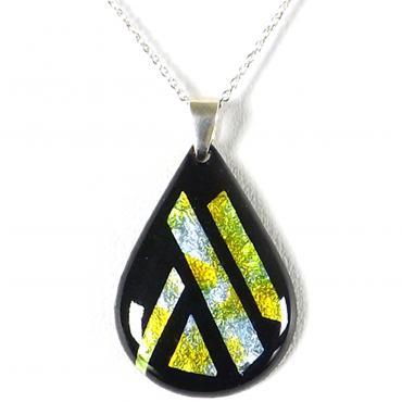 Necklace in enamel silver leaf blue, green, yellow