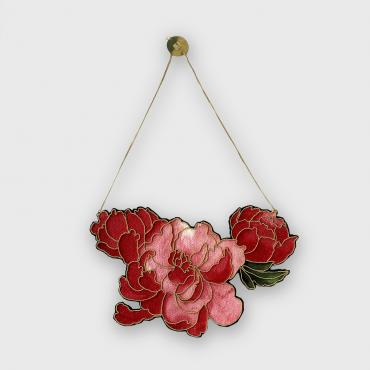 Trois Pivoines Roses - Collier Or