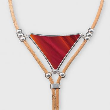 Collier long ALMA - coloris rouge carmin