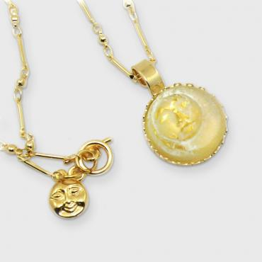 Necklace yellow Moon pendant