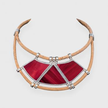 Collier NATURA - coloris rouge carmin
