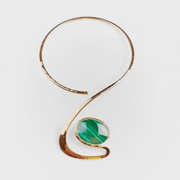 Necklace gold-plated with malachite 4
