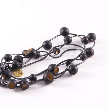 Necklace Senecio black and gold