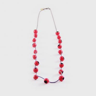 Necklace Senecio red and black