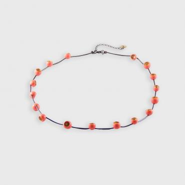 Necklace Senecio small corail et or