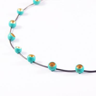 Necklace Senecio small turquoise et or