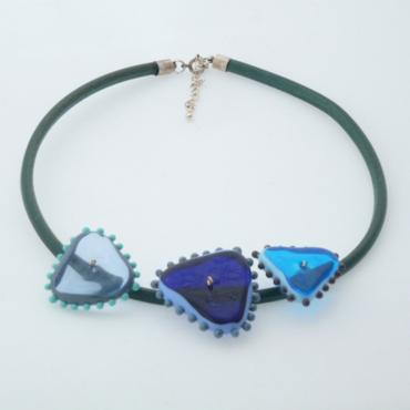 Necklace Blue Triangles
