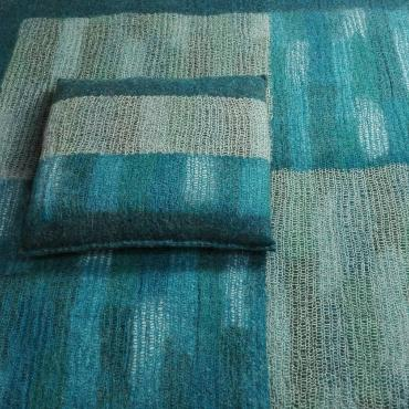 Felt Cushion, square, Blue green