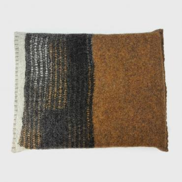 Felt Cushion small Mosaic Ocher Yellow/Black