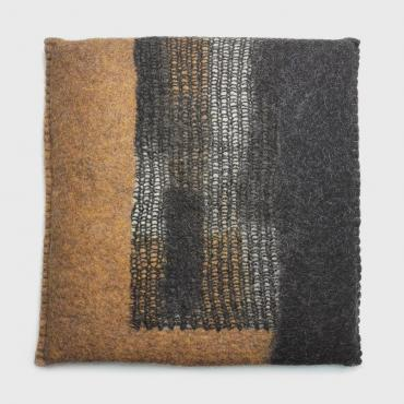 Felt Cushion, square, Mosaic Ocher Yellow/Black