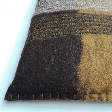 Felt Cushion small Ocher Yellow/Black