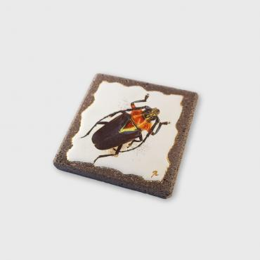 Coaster red and black insect in enamelled lava