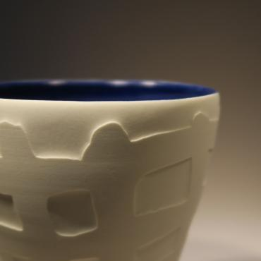 Teacup cobalt blue Checkered