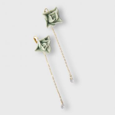 Lever-back earrings Goutte de brume celadon