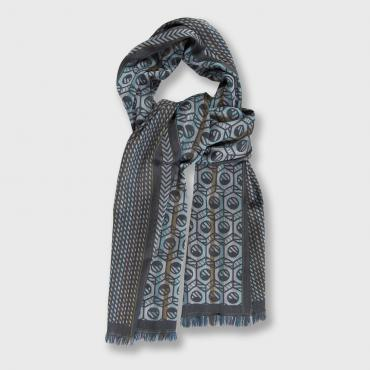 Scarf in silk and wool - POP CIRCUIT - grille & écrous