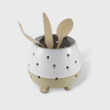 Cutlery drainer PM blanc et terre brute