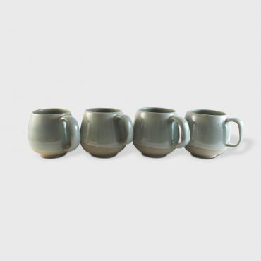Set of 4 cups rondes MM céladon et terre brute