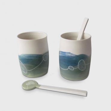 Set of cups and Spoons Paysage blue-green