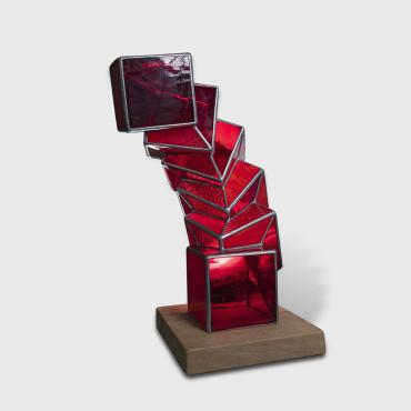 Sculpture Equilibre rouge