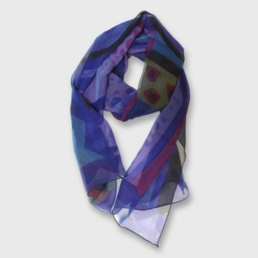 Silk scarf hand-painted  Outremer