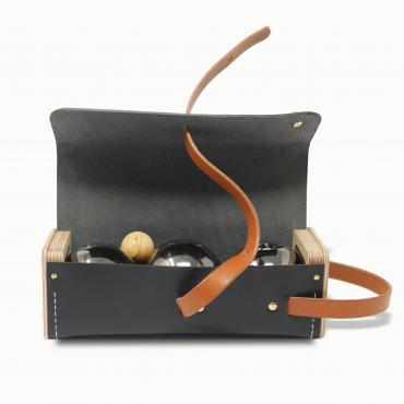 Leather and wood bowling ball case, Le Bouliste
