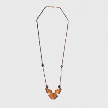 Long necklace F Verni orange