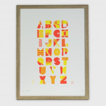 Alphabet sampler pink and yellow