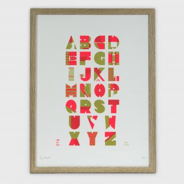Alphabet sampler pink and gold