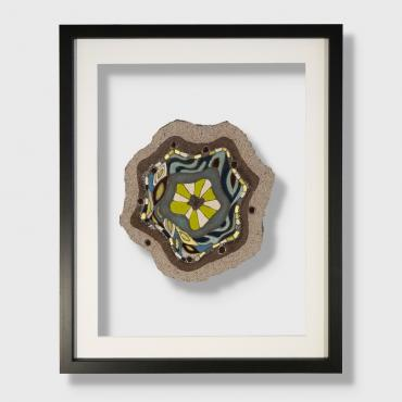 Frame Fleur de lave green and blue in enamelled lava