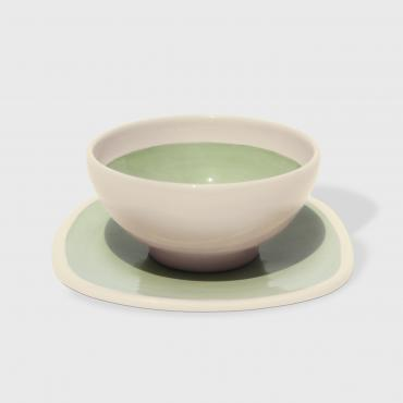 Bowl + plate vert olive