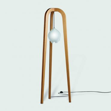 Floor lamp Tripode oak and blown glass
