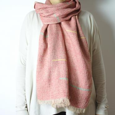 Scarf in pink and multicolor silk