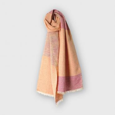 Foulard en soie orange et rose