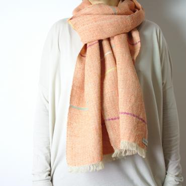 Foulard soie orange et muticolore
