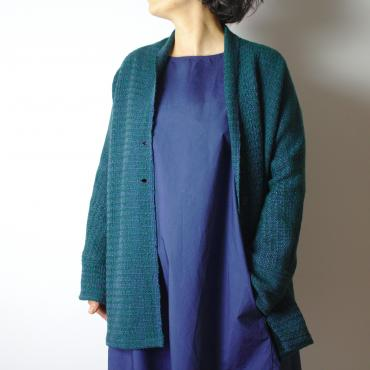 Cardigan in peacock blue whool
