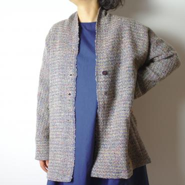 Cardigan in beige and blue whool