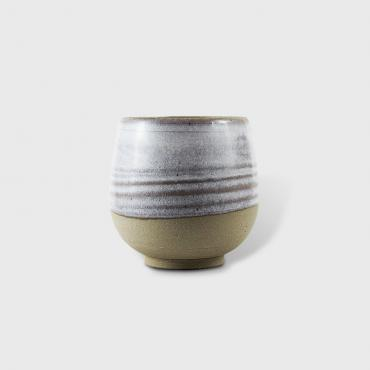 Round cup medium white and raw clay