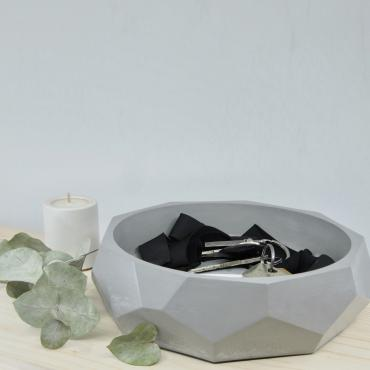 Trinket bowl facetedin grey concrete