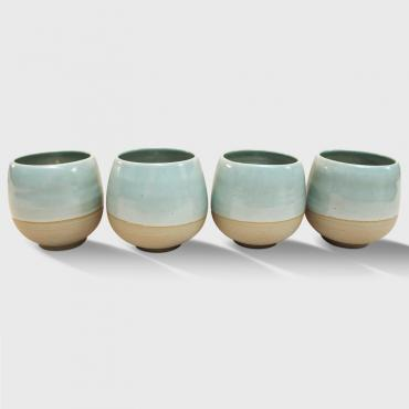 Set of 4 round cups medium celadon and raw clay