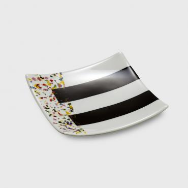 Presentation dish 25 cm x 25 cm collection Noir Blanc et confettis