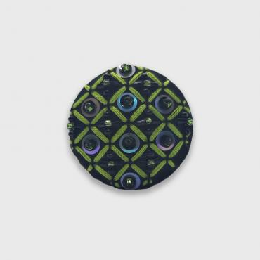 Broche aimantée Grille Anis