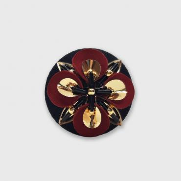 Magnetic brooch Trèfle Cuir Rouge