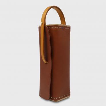 Leather and wood bowling ball case, papaya et jaune, Le Bouliste