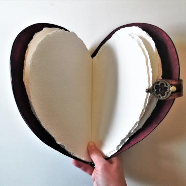 Notebook Livre d'or Coeur in leather