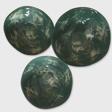 Set of 3 green bowls